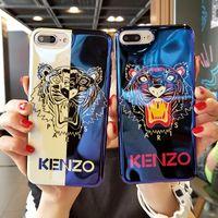 je téléphone bleu achat en gros de-Tiger Painted Marque Blue Ray I Cas de téléphone TPU Couverture arrière pour iPhone X XS MAX XR 7 8P 8 6 6 s plus 2 couleurs disponibles