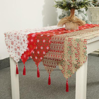 Wholesale fashion tablecloths for sale - Group buy Christmas new linen printed table flag Christmas decorations Table decoration ornaments tablecloth placemats creative fashion holiday decora