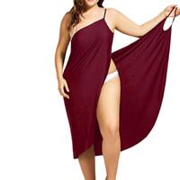 ingrosso rivestimenti per i vestiti da bagno-Abiti estivi Beach Cover Up Wrap Dress Bikini Swimsuit Costume da bagno Cover Up Beach Women Dress Plus Size