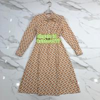kadın gömlekleri elmas taklidi yaka toptan satış-Kadın Mektup Baskı Gömlek Elbise Yay Standı Yaka High-End Özel Orta Buzağı Gömlek Rhinestone Elbiseler S-M-L