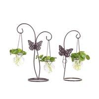 кованые заводы оптовых-Бабочка зеленое растение гидропонный контейнер растение стеклянная бутылка кованое железо украшение цветочная композиция контейнер подвесная ваза