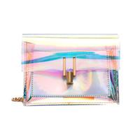 laser pvc venda por atacado-30 pcs sacos crossbody para as mulheres 2019 laser sacos transparentes moda feminina estilo coreano bolsa de ombro mensageiro pvc saco de praia à prova d 'água