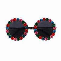 big framed glasses retro großhandel-New Fashion Punk Große Runde Sonnenbrille Frauen Markendesign Farbige kristall Metallrahmen Sunglass Hohe Qualität Retro Sommer sonnenbrille