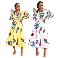Wholesale ladies white blouse short sleeve for sale - Group buy Women s Elegent Shirt and Pleated Long Dress Set Big Eyes Lips Printed Ladies Blouse Skirt Two Piece Suit Outfits Long Sleeve Cloth C71704