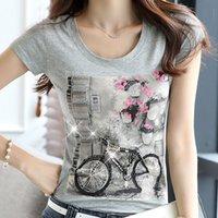 Wholesale bicycle tee resale online - 2019 Women s Rhinestone Bead Short Sleeve T shirts Female Diamond Tops White Beading Printing Bicycle Woman Summer Cotton Tees J190717