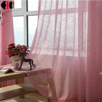 rote farbvorhänge großhandel-Rosa Farbe Tüll grau Vorhänge Jalousien gelb Hochzeit drapieren Stoff Küche kurze rote Vorhänge für Wohnzimmer WP342B