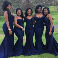 Wholesale weddings dresses for black girls resale online - 2020 Sexy Navy Blue Bridesmaid Dresses for Wedding Guest Party Cheap Straps with Sweetheart Neck Plus Size African Black Girls Prom Dress