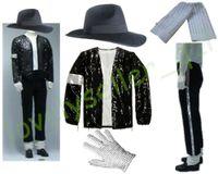 sombreros de lentejuelas negro al por mayor-MJ Michael Jackson Billie Jean adapta a la chaqueta de lentejuelas + Pants + Hat + Glove + Calcetines para niños adultos Mostrar Negro con lentejuelas Pacthwork 4XS-4XL