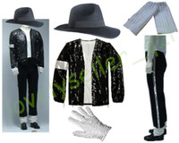 головные уборы оптовых-MJ Michael Jackson Billie Jean Suits Sequin Jacket+Pants+Hat+Glove+Socks Kids Adults Show Black Sequined Pacthwork 4XS-4XL