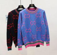 farbe jacquard-pullover großhandel-Herbst Winter großen Code lose Brief Jacquard Crash Farbe Strickjacke lange Einreiher Pullover Frauen Mantel