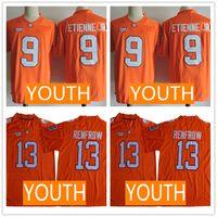 discount football jersey achat en gros de-Junior 2019 Clemson Tigers Orange Jersey # 9 Travis Etienne Jr. 13 Hunter Renfrow Maillots Enfant Prix Bas