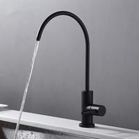 torneiras de água potável venda por atacado-Aço inoxidável Preto fosco Torneira de Água Potável Sem Chumbo RO Sistema de Filtração de Água Potável Torneira de Bebidas Tubo 1/4-Inch