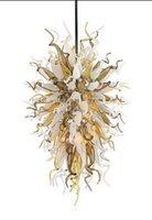 luces colgantes de hotel de lujo al por mayor-Lámpara de araña bonita de lujo Decoración de arte moderno Luz colgante Estilo Chihuly Soplado a mano Lámpara de araña de hotel de cristal de Murano