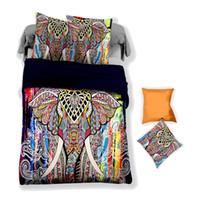 ingrosso elefante gemello-Bella 3D colorato elefante modello Set biancheria da letto Twin Full Queen King 4 dimensioni copripiumino federa Set biancheria da letto Set di biancheria da letto