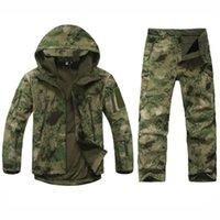 ingrosso vestito antivento dell'esercito-Army Tactical Softshell Jacket + Pants TAD caccia esterna Camouflage abiti da uomo impermeabile antivento cappotti per il campeggio di caccia