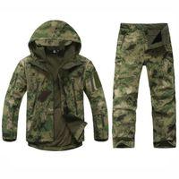 terno à prova de vento do exército venda por atacado-Army Tactical Softshell TAD Jacket + Pants exterior Caça Camouflage Ternos Homens impermeável à prova de vento Coats para a caça Camping
