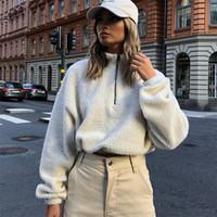 Wholesale winter sweatshirt korean fashion for sale – custom Casual Furry Cropped Hoodie Women Korean Fashion Crop Hoodies Sweatshirts Kawaii Long Sleeve Pullovers Autumn Winter