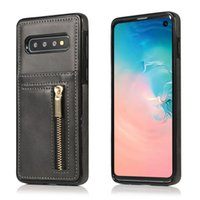 çok fonksiyonlu telefon cüzdanları toptan satış-Fermuar Telefon Kılıfı PU Deri Kapak İşlevli Cüzdan TPU Arka Kapak Için Kart Yuvası Ile Kılıf Samsung S10 S10E S10PLUS Huawei P30 Pro