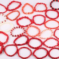 korallen armbänder frauen großhandel-Frauen Armband neue natürliche Korallen Stein Perlen einzelne Kette Stein Männer und Frauen Glück Armband Charm Schmuck eine Vielzahl von Stilen
