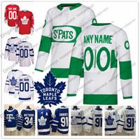 ingrosso foglia di acero bianco-Personalizzato Toronto Maple Leafs 2019 St. Pats Bianco Blu Verde Jersey Qualsiasi numero Nome uomini donne giovani bambini Barrie Kapanen Spezza Muzzin Johnsson
