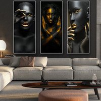 Wholesale cuadros painting for sale - Group buy Black Gold African Nude Woman Cuadros Canvas Painting Posters And Prints Scandinavian Wall Art Picture For Living Room Decor J190707