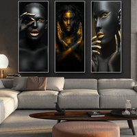 ingrosso nude immagini donne-Black Gold African Woman Nude Cuadros Canvas Painting Poster And Prints Immagine di arte della parete scandinavo per Living Room Decor J190707
