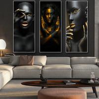 art mural salon africain achat en gros de-Noir Or Africain Femme Nue Africaine Cuadros Toile Peinture Affiches Et Gravures Scandinave Wall Art Photo Pour Le Décor De La Salle J190707