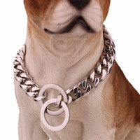 Wholesale rose dog collars resale online - 15mm l Stainless Steel Rose Gold Plated Cuban Dog Pet Chain Collar Tone Double Curb Cuban Rombo Link Pet Jewelry Epacket Fre