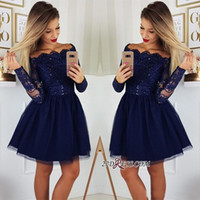Wholesale plus size 26w prom dress online - 2019 Long Sleeves Lace Homecoming Dresses Tulle Applique Short Prom Cocktail Party Dresses Plus Size Vestidos De Festa