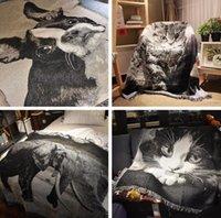 ingrosso letti cani bianchi neri-Coperta stampata animale 3D Coperta nera e bianca del modello del cane dell'elefante del gatto con la nappa sul sofà 125 * 150cm del sofà