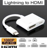 ipad iphone konektörü toptan satış-Bağlayıcı için iPad 8pin Dijital AV Adaptörü Yıldırım için HDMI Kablosu Apple iPhone X 8 76 Yıldırım Adaptörü için Yıldırım ios Cihazı