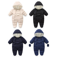 Wholesale chinese outfits for girls resale online - New Russia Winter Toddler Outfit Infant Baby Boy Girl Romper Thicken Baby Snowsuit Windproof Warm Jumpsuit For Children Clothes
