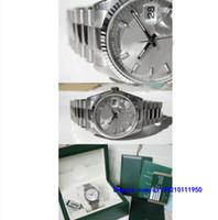 relojes modernos para hombre al por mayor-Relojes de pulsera con caja original Relojes modernos casuales Relojes unisex FECHA DEL DÍA Presidente 118239 Hombres Oro blanco de 18 quilates Índice de plata Dial 36MM