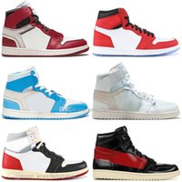 Wholesale spider shoes online - 1 OG Banned Bred Toe Spider Man UNC s top Mens Basketball Shoes NO For Resale Couture Royal Blue Men Athletic Sports Designer Sneakers