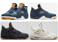 erkek ayakkabıları boyutu 13 toptan satış-Yüksek Kalite levis x jordan 4  Denim Travis Mavi Siyah Beyaz Denim Basketbol Ayakkabı Erkekler 4 s Mavi Kot Spor Sneakers Ile Kutu Boyutu us7-13