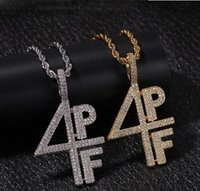 Wholesale 4pf chain resale online - 4PF Pendant Necklace Iced Out Lab Diamond Letter Number DJ Rapper Jewelry Street Style Chain GD7