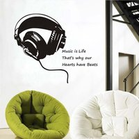 Wholesale kids music wall stickers resale online - DCTOP Music Is Life Headphones Wall Stickers Home Decor Bedroom Kids Music Note Wall Decals Large Size Removable Vinyl Stickers