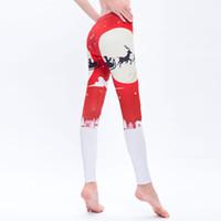 ingrosso yoga gifts-2018 Pantaloni elastici stampati magro e natalizio di Natale europeo con stampa di pantaloni elasticizzati di yoga Regalo di Natale di nuovo anno Leggings di yoga stampati