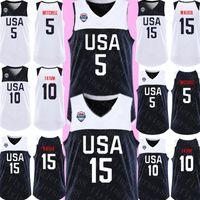 черный белый баскетбольный трикотаж оптовых-2020 США Donovan 5 Митчелл Kemba 15 Уокер Джерси Нью-Джейсон 10 Татум Джерси Мужских Черные Белый Basketball трикотажные изделия