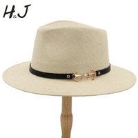chapéus de palha artesanais venda por atacado-2019 100% Palha Chapéu de Sol Das Mulheres Dos Homens Com Borda Larga Chapéu Panamá Handmade Praia Sunbonnet Jazz Tamanho 56-58 CM A0152-XSJ