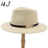 el yapımı hasır şapkalar toptan satış-2019 Geniş Ağız Panama Şapka Ile 100% Straw Kadın Erkek Güneş Şapka El Yapımı Plaj Sunbonnet Caz Boyutu 56-58 CM A0152-XSJ