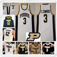 erkek yuvarlak v boyun toptan satış-En kaliteli # 3 Carsen Edwards Purdue Boilermaker v yaka Basketbol Yuvarlak yaka Jersey siyah beyaz Altın Erkekler Gençlik Çocuk dikişli Formalar