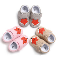 Wholesale baby blue knit fabric for sale - Infants Baby Fox pattern soft sole shoes cute knitted upper baby boys girls anti slip first walkers colors sizes for spring summer