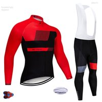 Wholesale 2018 Winter RED Cycling Pro Jersey D Gel Racing Teams Bike Pants Set MTB Ropa Ciclismo Men Thermal Fleece Bicycling Maillot