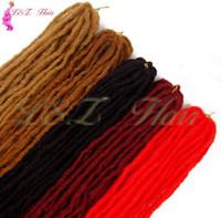 cabelo rosa ombre venda por atacado-18 polegadas Handmade Dreadlocks Extensões de Cabelo Rosa Azul Ombre 12 Fios Dreadlocks Sintéticos 12 cordões 18