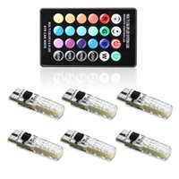 6 x RGB Led T10 W5W Car Bulbs With Remote Control 194 168 501 RGBW Led Lamp Reading Wedge Lights Strobe 12V Silicone 5050SMD