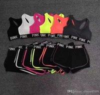 ingrosso bras da ragazza-Pink Letter Young Girl donna Tuta Abiti Yoga Crop top Tank Bra + Mini Shorts Jersey Sportswear imbottito senza supporto in acciaio vendita calda