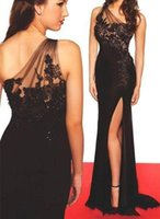 Wholesale crystal chiffon prom dress mermaid resale online - Sexy Black Slit One Shoulder Evening Dresses Applique Lace Crystal Summer Chiffon Formal Evening Gowns Prom Party Dress