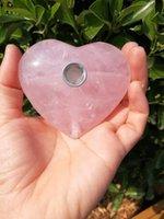 stieg rauch großhandel-Neue getrommelte Kristallherz Tabakpfeifen Pink / Rose Quartz Crystal Smoking Pipes