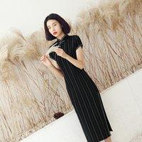 ingrosso abiti cinesi di colore nero-Le donne di estate manica corta a strisce Qipao cinese Vintage collare del mandarino Cheongsam nero sexy Slim Dress Plus Size 3xl